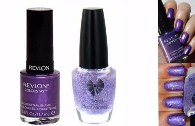 Revlon Sangria Purple Lilac Glitter Shimmer Duo Nail Varnish Set
