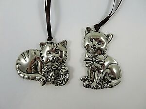 Gorham-Pair-Cat-Christmas-Ornaments-Shiny-Silver-Color-Nickel-Plated