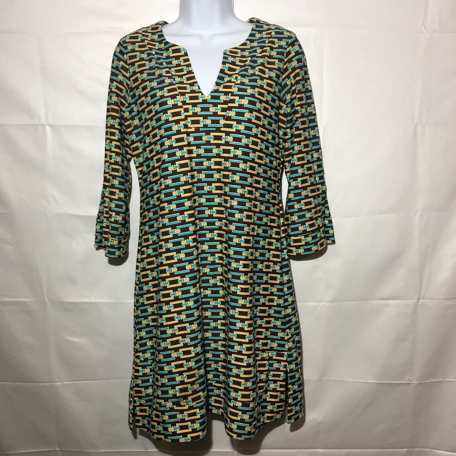 Jude Connally damen Short 70's Geometric Print 3 4 Sleeve Dress Größe XS
