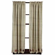 """ABILENE STAR Short Panel Set Rustic Dark Cream Applique Primitive Curtain 63/"""""""