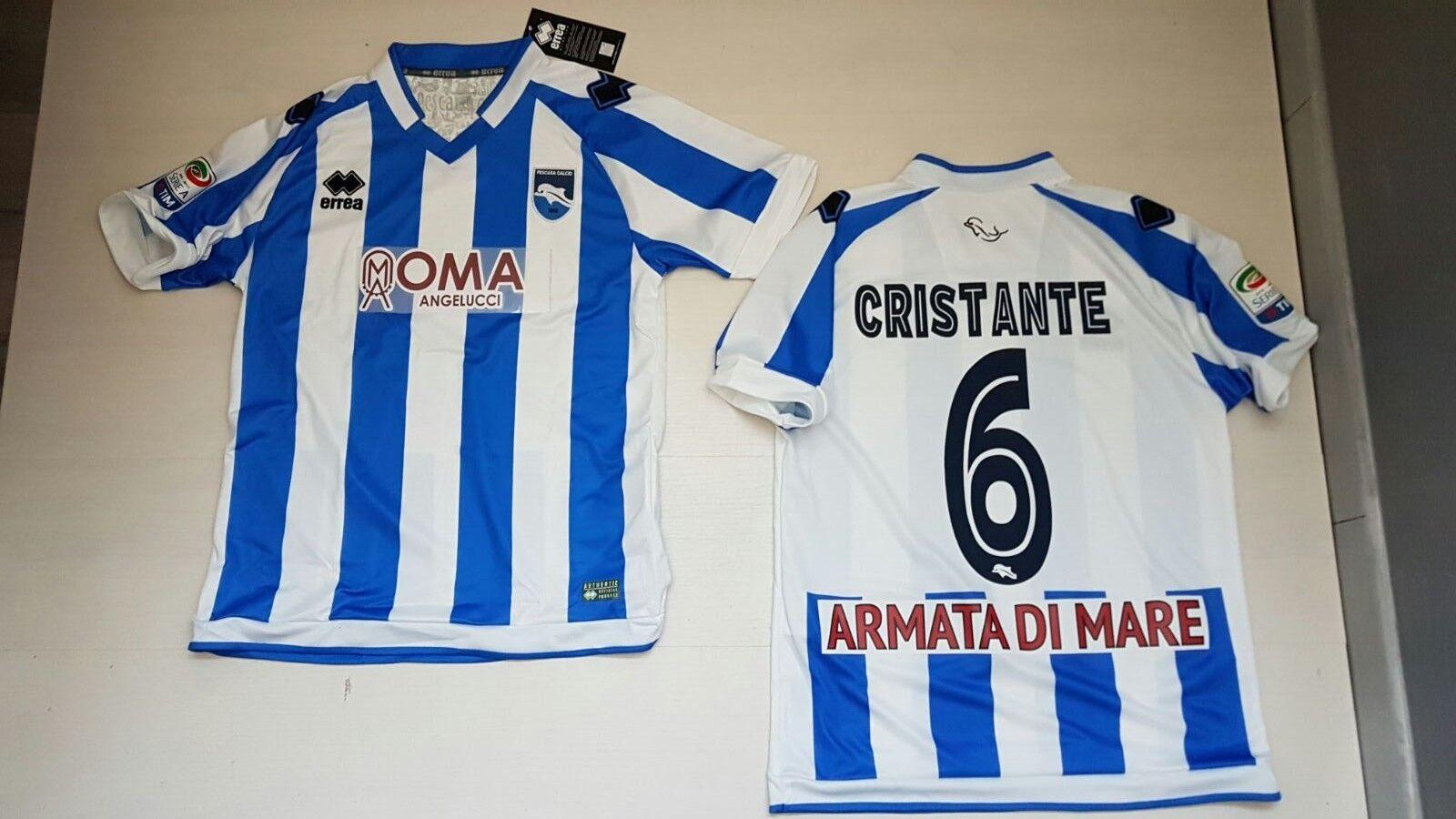 Errea Pescara Home Jersey 16 17 Cristante 6 Match Haut Maillot Série T-Shirt