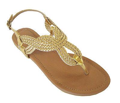 New  Ladies' Braided Gladiator Flat Sandal T-Strap Thong Sandals(8016)