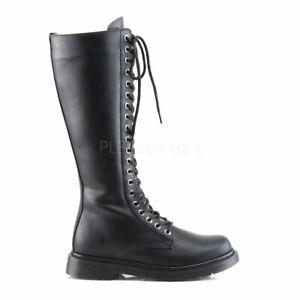 Demonia-20-eye-Black-Vegan-Knee-High-Combat-Boots-Rocker-Punk-Mens-7-Womens-9
