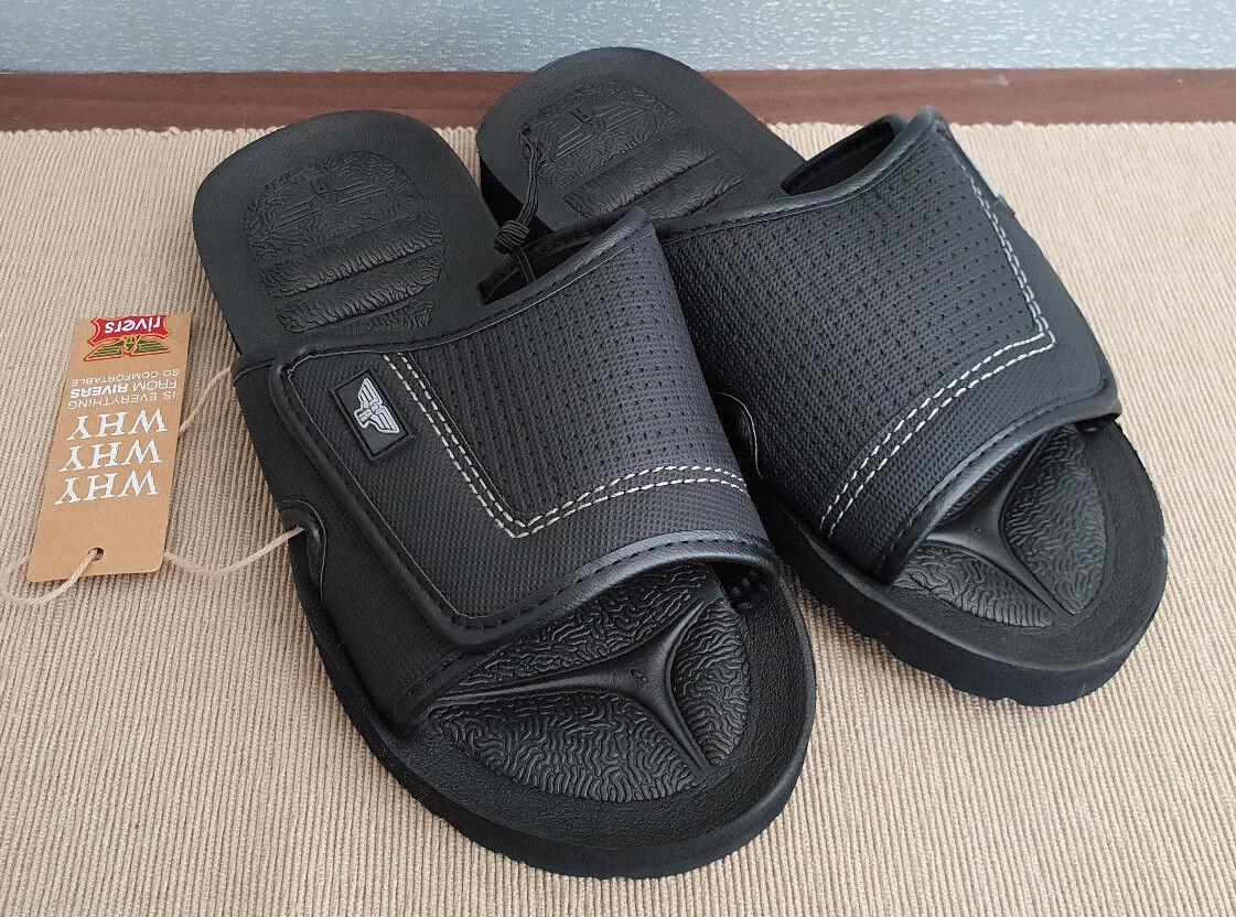 BNWT Mens Slides Rivers Size 6 Black Slides Mens Flip Flops Sandals Beach Casual Shoes c77604