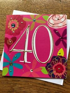 Happy 40th  birthday card pink gold sparkle jewels quality  Belly Button (A532)