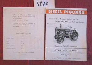 N°4820 /  prospectus moteur diesel PIQUAND adaptable sur tracteur RENAULT