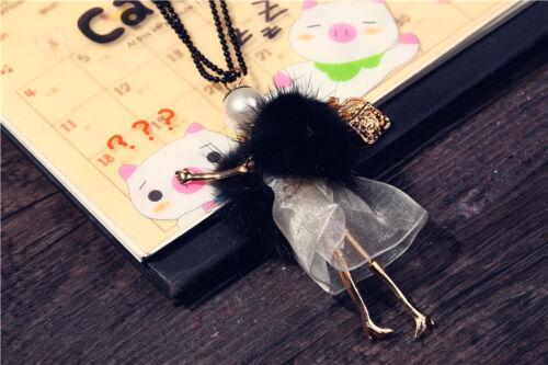 BEAUTIFUL HANDMADE LARGE GIRL DOLL BLACK FUR DRESS GOLD HANDBAG NECKLACE STYLE 7