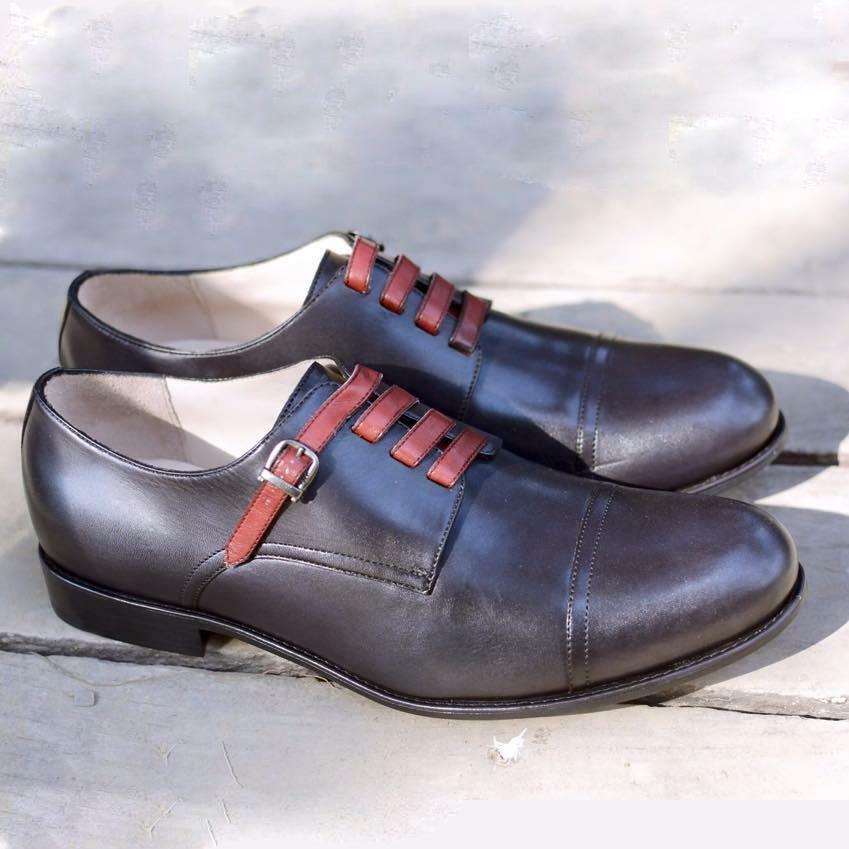 Zapatos para hombre hecho a mano Negro Correa De Cuero De Ancho Cordones monje Derby Hebilla Bota Formal