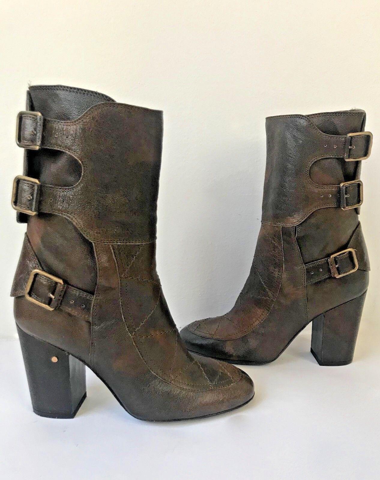 Laurence Dacade brown leather high heel distress boots booties buckle Sz37 7