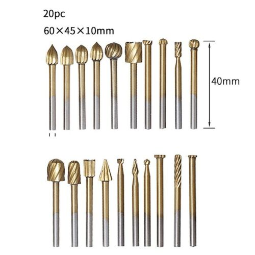 Details about  /20pc High Speed Steel Rotary File Grinder Wood Carving DIY Grinding Head Kit