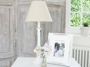Legno Bianco Vintage : Antique vintage white wooden lamp base linen shade table bedside