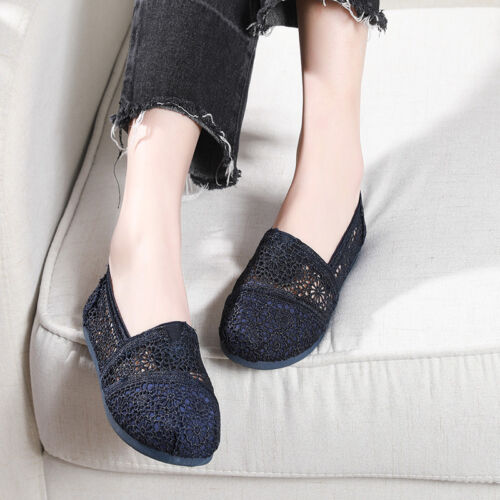 Stylish Classic Women Lace Natural Crochet Slip on Breathable Flat Loafer Shoes