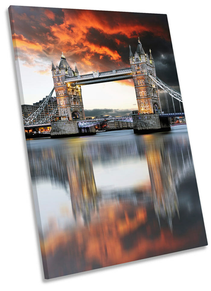 Stadt London Tower Bridge Sunset Framed CANVAS Wand Kunst Drucken Bild
