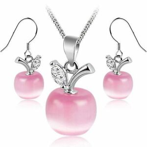 Apples-Set-Pink-Simulated-Cat-Eye-Stone-Crystals-Necklace-Earrings-Gold-Plated