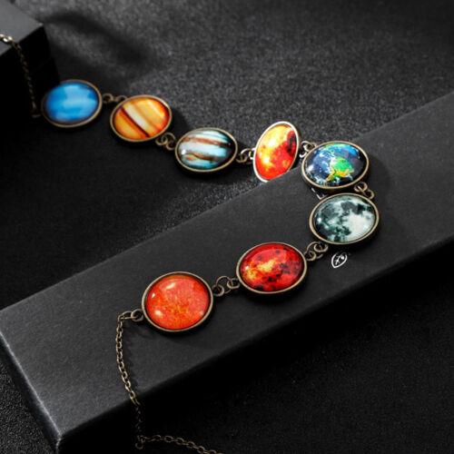 Mode Universum Sonnensystem Planet Galaxis Weltall Glas Anhänger Halskette Nutz