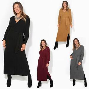 Womens-Ladies-Jumper-Dress-Chunky-Knit-Wrap-V-Neck-Maxi-Long-Sleeve-Winter-Top