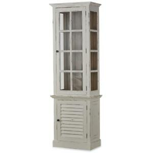 Beau Details About Vintage Off White Shutter Tall Cabinet W/Glass Solid Wood Sp  Order Bramble 25402