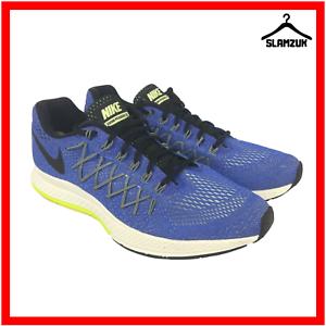 Nike-Air-Zoom-Pegasus-32-Herren-Strasse-Laufschuhe-Turnschuhe-UK-11-46-Racer-blau-Run