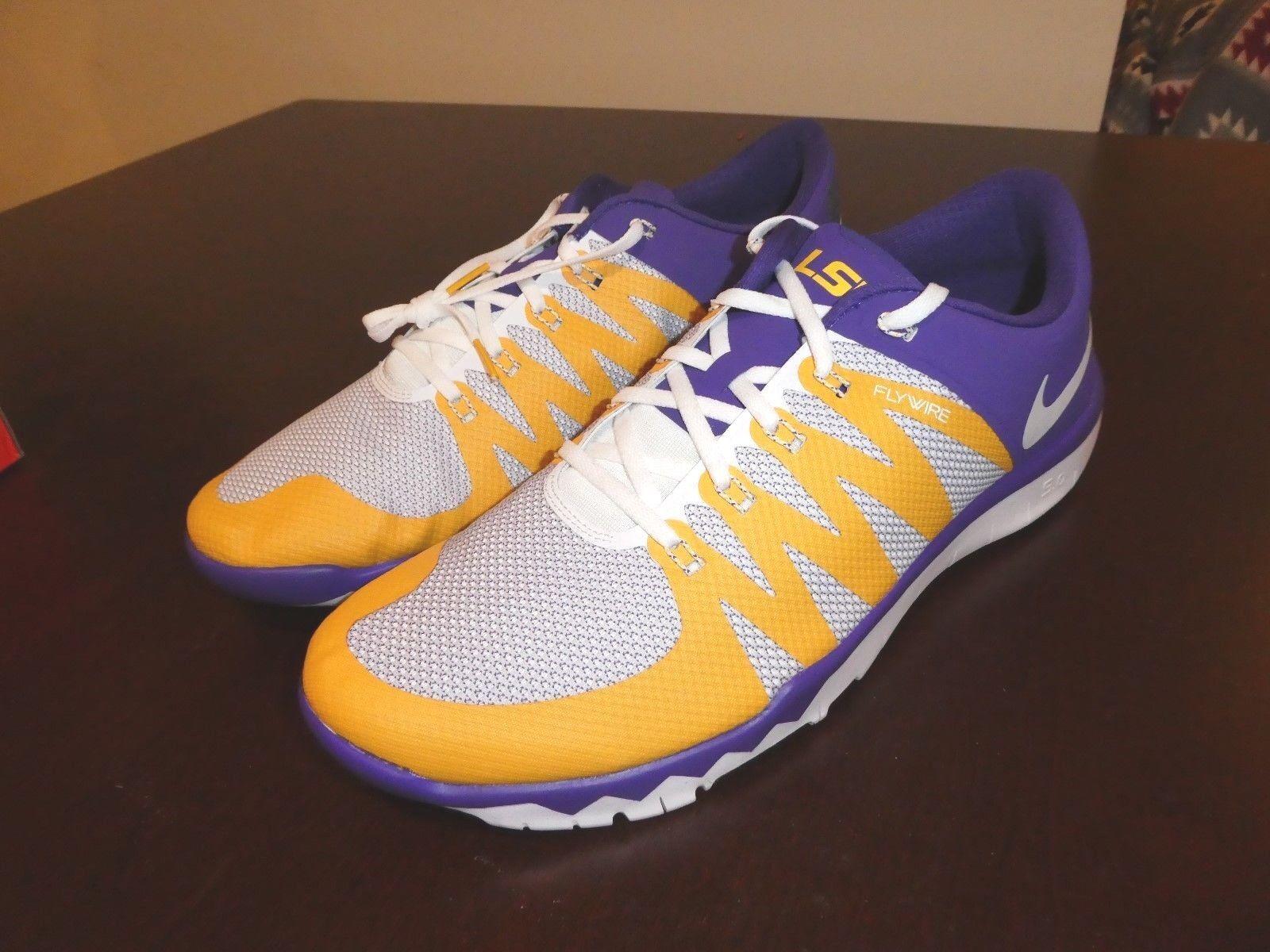 Nike Trainer Free 5.0 V6 AMP shoes New 723939 571 Lousiana Tigers LSU sz 15