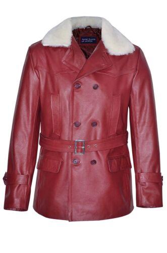 Reefer Men's Pea Fur Classic Hide German Cherry Coat Leather Military Jacket qaxIgY