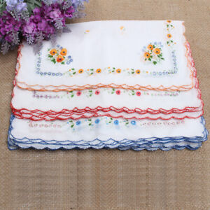 12-Pcs-Girl-Vintage-Embroidered-Cotton-Hanky-Handkerchief-Floral-Flower-Pattern