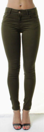 WOMENS Mid WAISTED SKINNY JEANS JEGGINGS Ladies Coloured Long PANTs 6-16