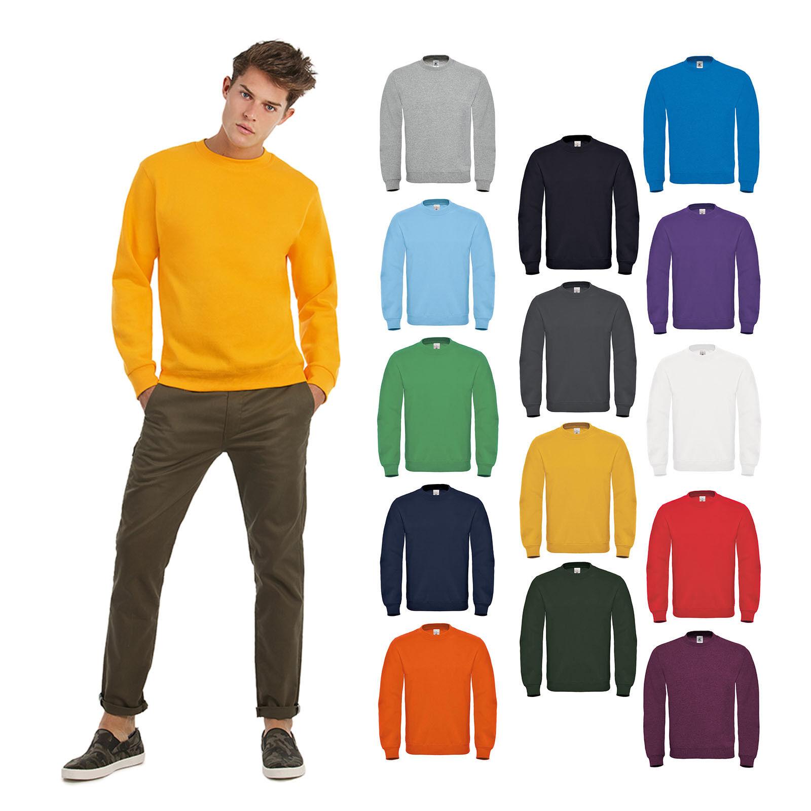 B&C Collection ID.002 Sweatshirt WU120 - Plain Fleece Cotton Jumper Crew Neck