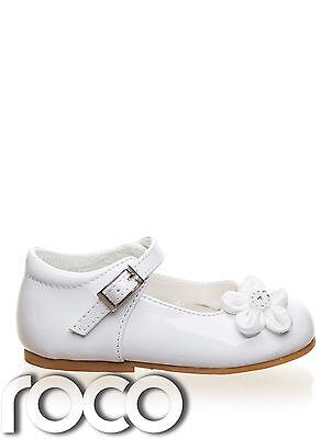 Schuhe Baby Mädchen Weiß Taufe Hochzeit Blumenmädchen 17 - 23