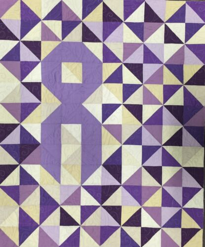 "Lavender, All Cancers, Cancer Ribbon Quilt Kit, 40"" x 48"", Fat Quarter Bundle"