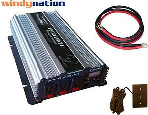 VertaMax-1500-Pure-Sine-Power-Inverter-DC-to-AC-Car-RV-2-AWG-Cables-Remote