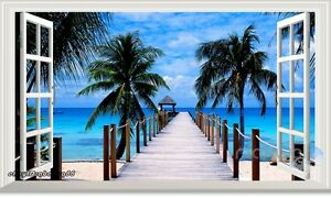 Palm Tree Tropical Beach Pier 3D Window Wall Decals Removable Sticker Home Decor