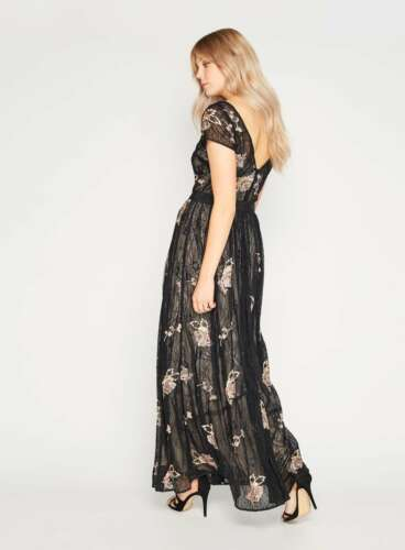 BNWT Miss Selfridge PREMIUM Embellished Lace Maxi Dress Black Size UK 12