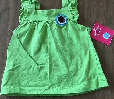 Carters Size-6m Green Cotton Tank Top W/flower Shirt Nwt Sturdy Construction