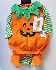 Infant 12-18 Months ~ Pumpkin Plush Striped Halloween Costume ~ 4 Pieces No Hat