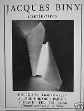 PUBLICITÉ 1955 JACQUES BINY LUMINAIRES ÉDITÉ PAR LUMINALITE - ADVERTISING