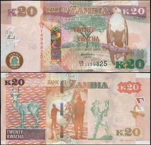 Sambia 20 Kwacha. UNZ 2012 (2013) Banknote Kat# P.52a