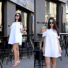 Zara White Poplin Jumpsuit Dress Size MEDIUM BNWT