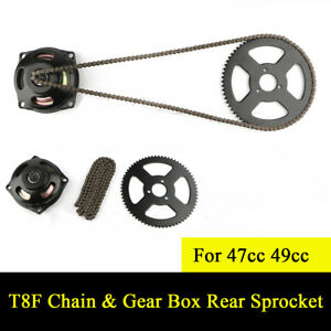 T8F Chain 6T Gearbox Rear Sprocket Kit Drive System for Mini Motorcycle 47cc 49cc