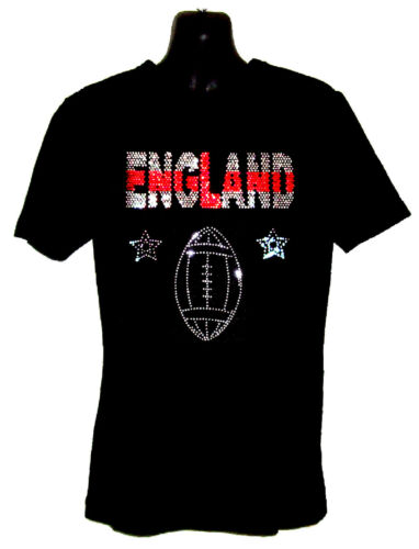 KIDS ENGLAND RUGBY T SHIRT RHINESTUD DESIGN any size