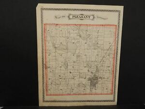 Steuben County Indiana Map.Indiana Steuben County Map Pleasant Township 1880 L9 86 Ebay