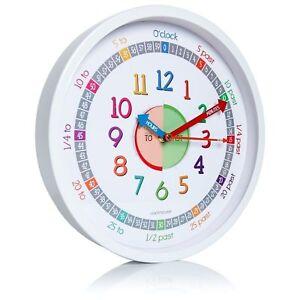 Clockminster CL101-30WH Time Teacher Wall Clock for Kids, With Silent Non Ticking Sweep Quartz Mechanism