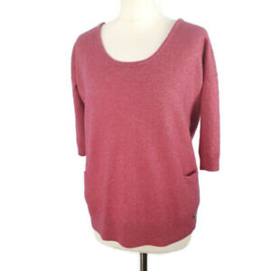 White-Stuff-Size-10-12-Pink-Cashmere-Blend-3-4-Sleeve-Jumper-Pockets-Winter