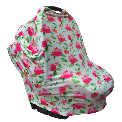 Floral Multi Use Baby Nursing Scarf Car Seat Canopy Cover Pink