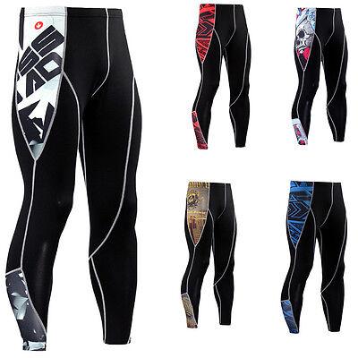 Men's Compression Workout Tights Skin Base Layer Long Pants Black Sports Spandex
