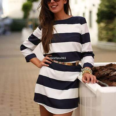 Women Casual Striped Long Sleeve Party Evening Mini Shift Dress Long Shirt Tops