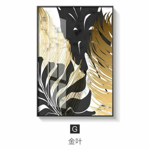 Golden Leaf Canvas Painting Nordic Plants Posters Modern Room Decor Wall Art