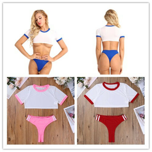 Womens School Girl Lingerie Outfit Sheer Crop Top+Open Crotch Briefs Costume