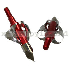 3x Mechanical Broadheads 100 Grain Fixed Blade Best Archery Hunting for Deer RED