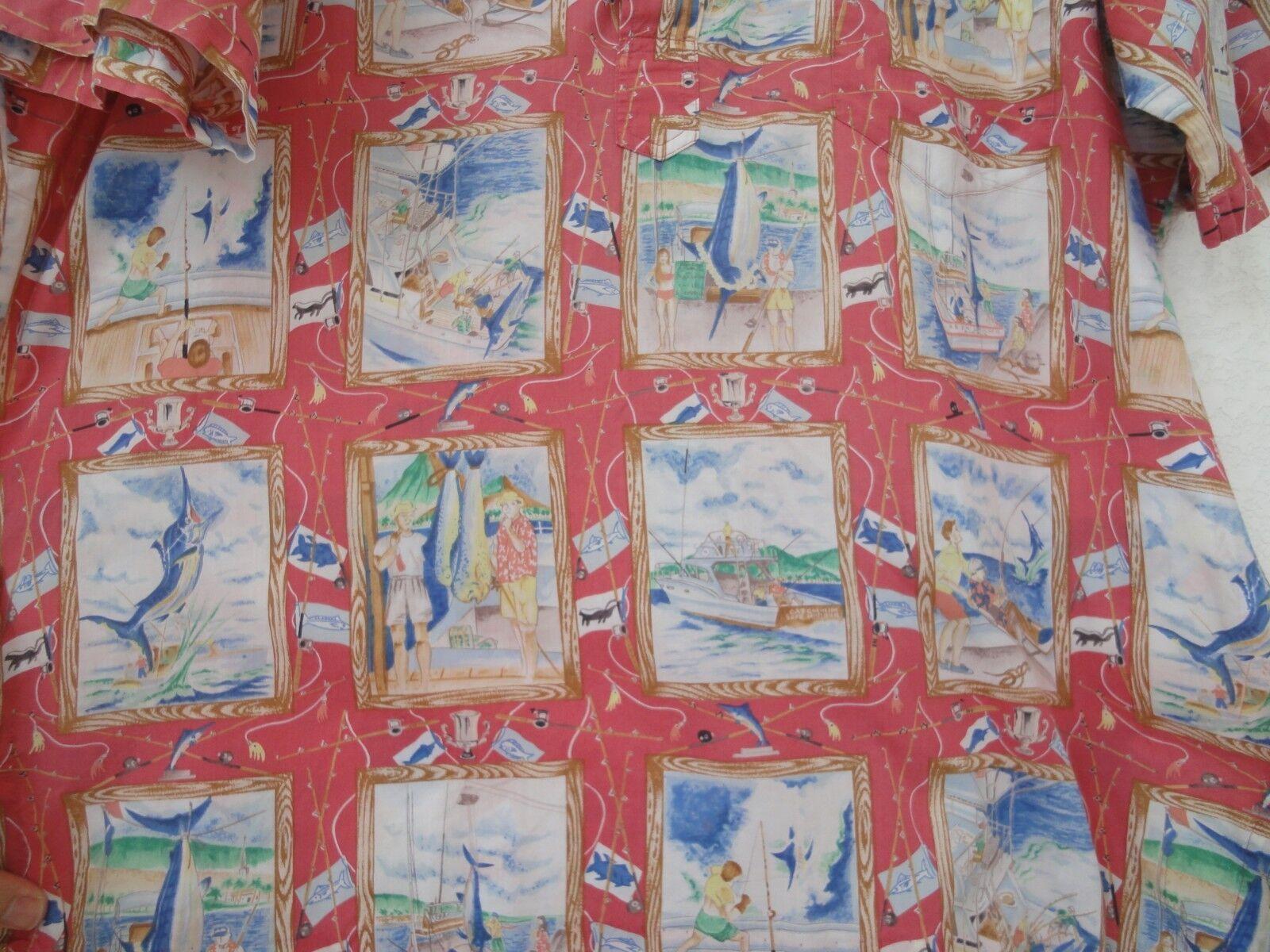 Reyn Spooner Fishing memoir sz XL lightweight Egyptian cotton half button shirt