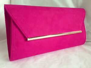 Image Is Loading New Fuschia Faux Suede Evening Clutch Bag Shoulder